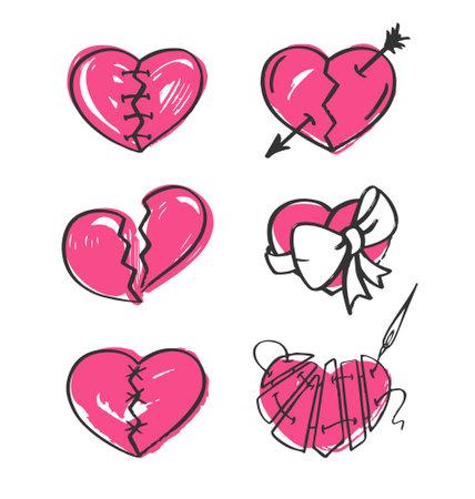 Broken heart set on white background. Hand-drawn vector illustration.