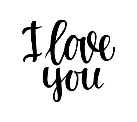 """Hand lettering """"I love you"""" on a white background. For decor photos, postcards, invitations, valentines for Valentine's Day, wedding, birthday. Sticker. Vector illustration."""