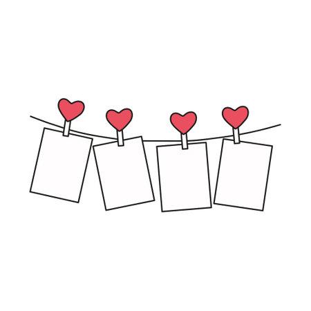 Photo on clothespins hearts on a white background. Valentine's Day, wedding, birthday, interior decor. Vector illustration.