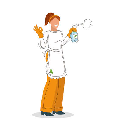 Girl worker with a gesture with his fingers OK, and a cleaning tool on white background. Advertising of a cleaning company. Vector illustration.
