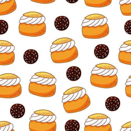 Seamless pattern from traditional Swedish sweets semla and chokladboll. Vector cartoon background