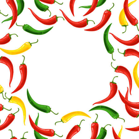 Light background with colorful chili peppers. Vector illustration.