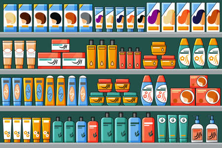 Shelves filled with hair and beauty products, shampoos, hair dyes. Vector background in cartoon style