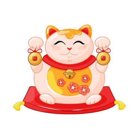 Maneki Neko is a fat cat, a symbol of good luck and wealth. Japanese cat with raised paw and fish. Cartoon Style. Vector illustration