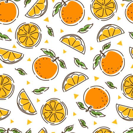 Juicy tangerine seamless pattern. Slices and leaves of tangerine. Geometry. Abstract hand-drawn background. Vektoros illusztráció