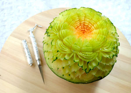 melon fruit beautiful creative Thai original carving