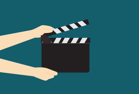 film industry: Man Hands Holding Cinema Clapper Board