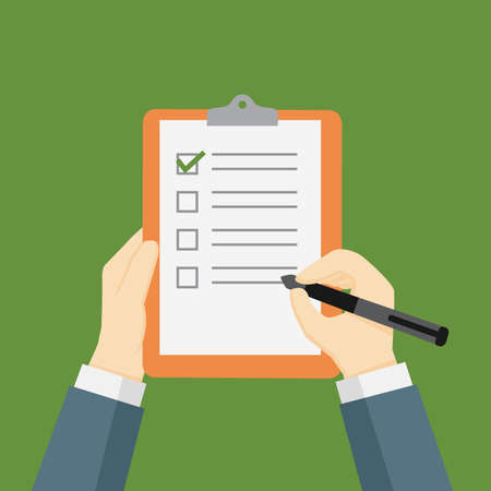 Businessman Holding a Clipboard and Filling a Checklist Form