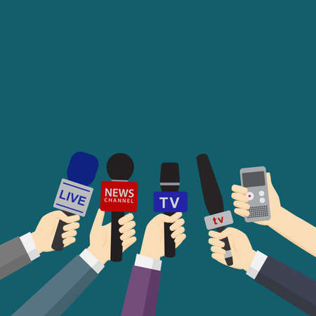 Set of hands holding microphones and digital voice recorders. Journalism concept. Media interview