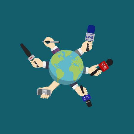 World News, journalism, live report, hot news Illustration