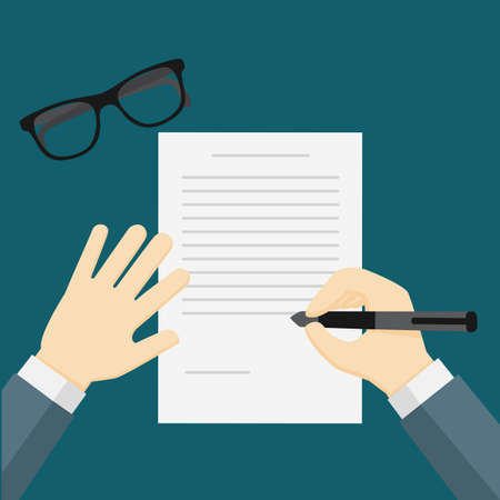 formal signature: businessman hand holding a pen, businessman writing on the paper