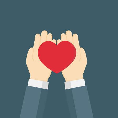 hand giving the red heart Ilustração