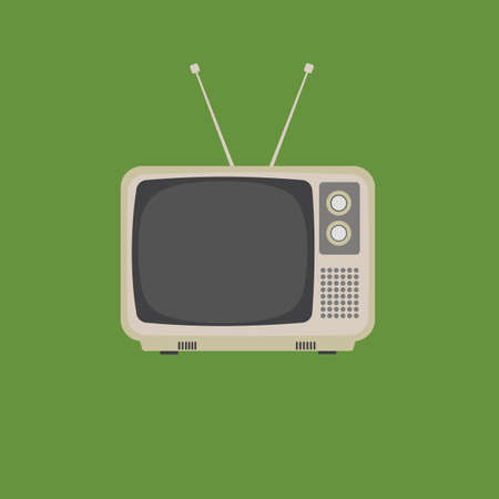 Flat Design of retro vintage television 向量圖像