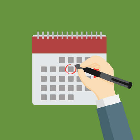 Businessman Holding Pen and Mark The Date on Calendar