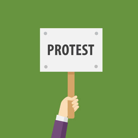 protest sign: Hand Holding Protest Sign Flat Illustration. Protest or demonstration Illustration