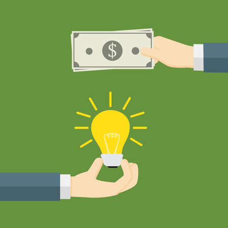 Money for idea. One hand holding light bulb and other hand offers money, Paying for innovation and creativity
