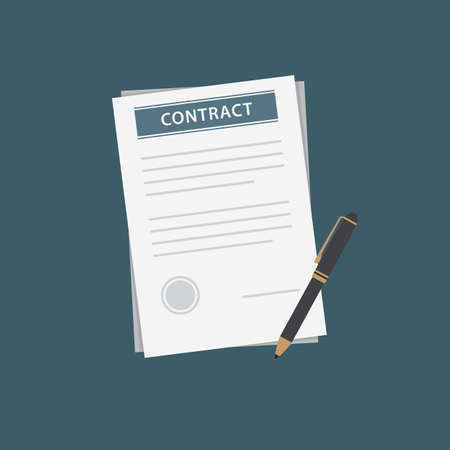Flat Design of Contract Document and Black Pen