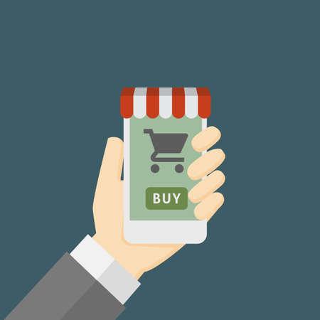 Online Store On Smartphone Illustration