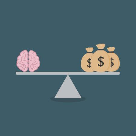 Flat design of Mind And Moneybag On The Scale Illusztráció