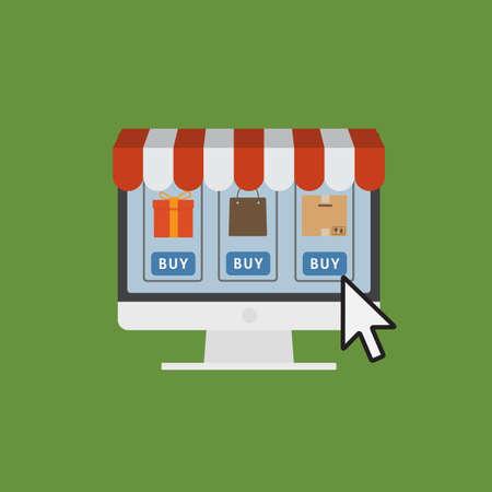 Online Shop Concept, E-Commerce Internet Store Illustration