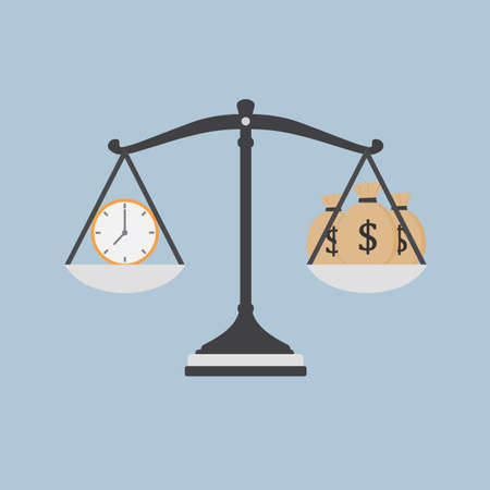 Time Is Money Illustration, Watch And Moneybag on The Scale Illustration
