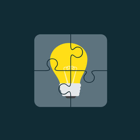Pieces Of Puzzle With Yellow Light Bulb Picture