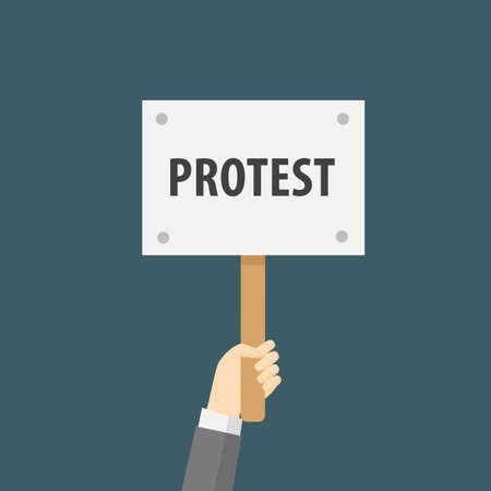 Hand Holding Protest Sign Flat Illustration