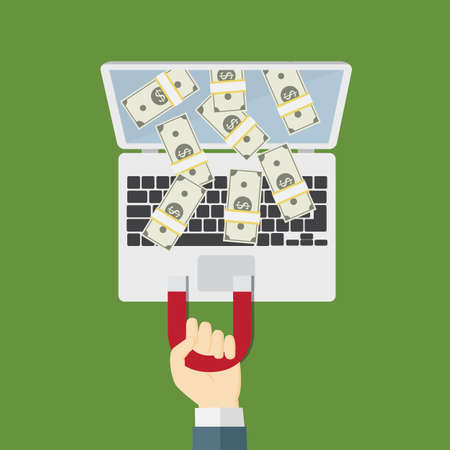 Pull Down Money From Internet With Magnet Çizim