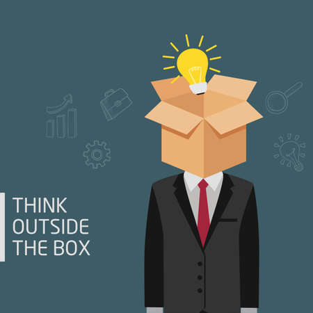 Man Think Outside The Box Metaphor, Ideas Concept Of Man With Opened Box And Light Bulb In His Head Illusztráció