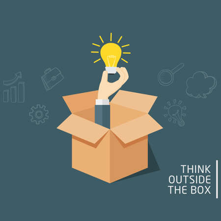Think Outside The Box, Ideas Concept Of Opened Box With Hand Holding A Light Bulb Illusztráció