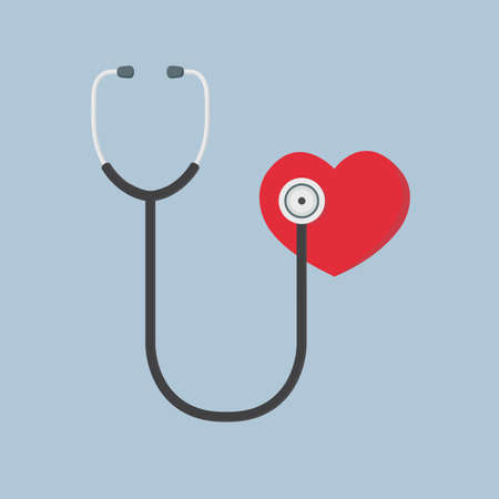 Flat Design Of Red Heart And Stethoscope, medical Illustration, health care