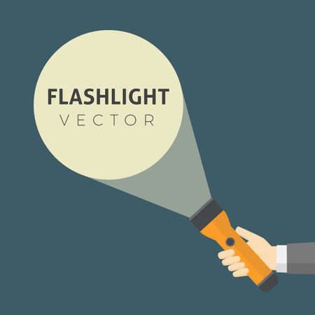 Flat Design Of Hand Holding FlashLight And Projection Light Beam