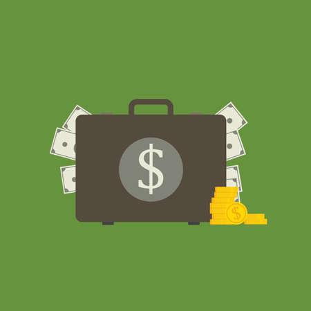 Flat Design of Money Suitcase, suitcase with money concept