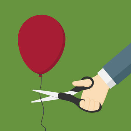 Cutting A Red Balloon with Scissor