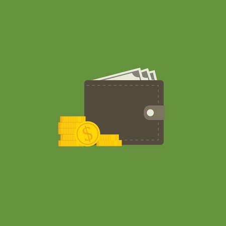 Flat Design Of Money Wallet Illusztráció