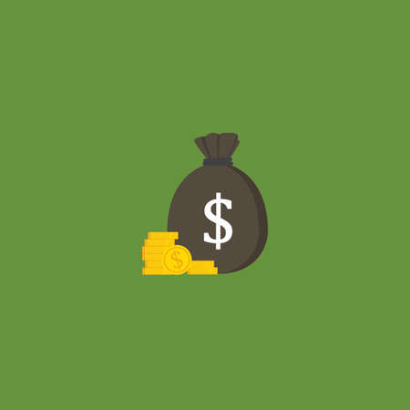 Flat Design of Moneybag With US Dollar Sign