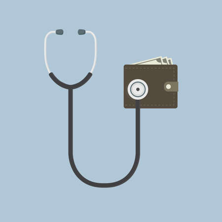 money wallet: Wallet Financial Check Up Illustration, flat design of stethoscope and Money wallet Illustration