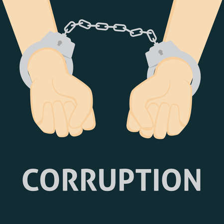 handcuffed: Corrupt People with Handcuffed Hand Illustration