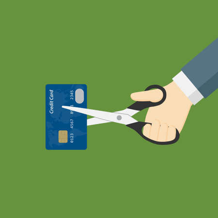 isolation: Hand Cutting Credit Card With Scissor Illustration