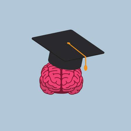 Graduation Cap with Brain Illustration