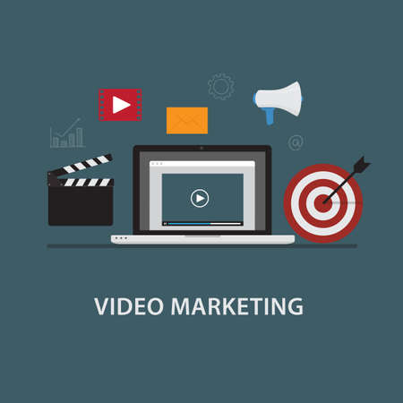 digital marketing: Video Marketing. Laptop with Video Player and Digital Marketing Icon Illustration