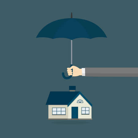 Home Insurance Illustration. People Hands Holding Umbrella Covering a House