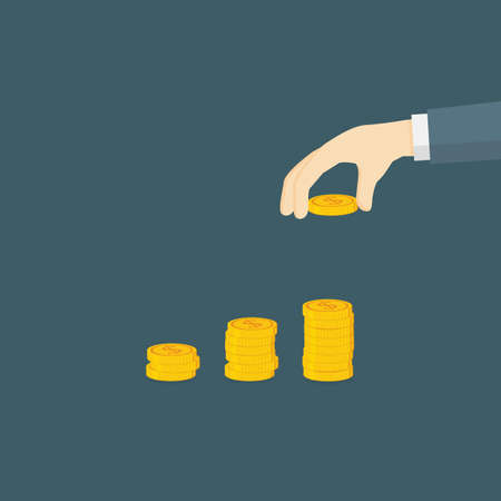 Money Investment Illustration. Hand Putting A Dollar Coin to Money Staircase