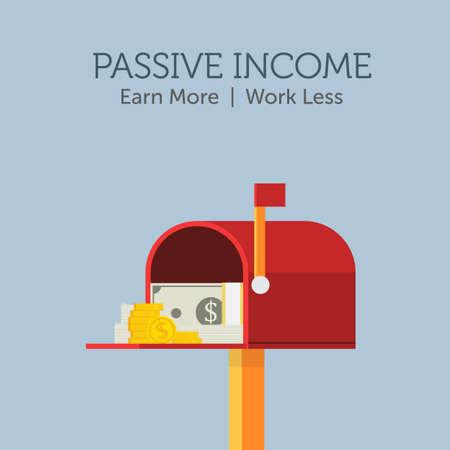 Passive Income Illustration. Stack of cash on red mailbox Illusztráció