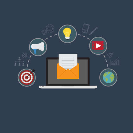 Email Marketing Illustration. Laptop With Email Document On Yellow Envelope, With Digital Marketing Icon