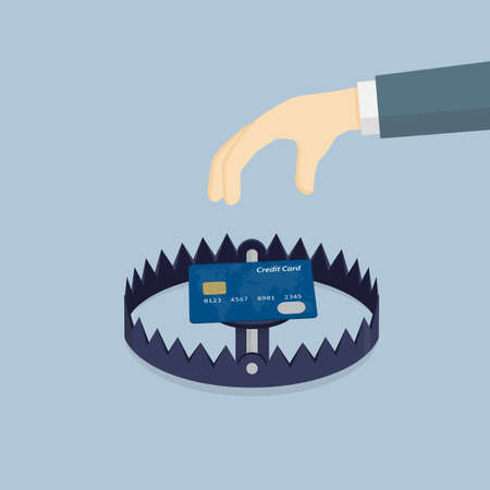 bear trap: Financial Trap. Hand Going To Take Credit Card In Bear Trap