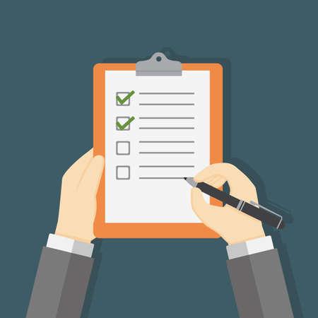Hand Holding Clipboard and Filling A Checklist Form Illusztráció