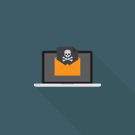 Online Blackmail Concept. Laptop With Skull Sign On Black Document Over Yellow Envelope