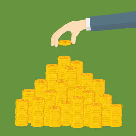 Saving Money Illustration. Hand Putting Dollar Coin To Money Staircase