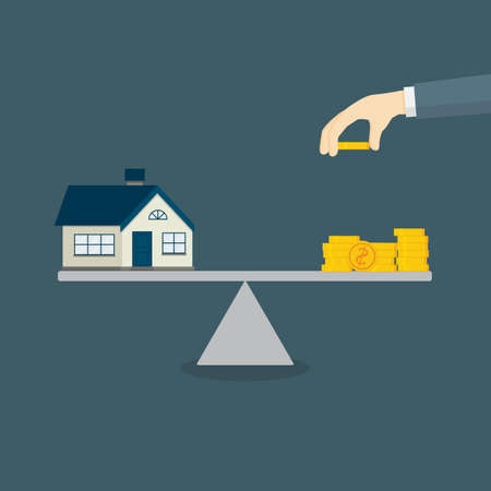 Property Investment Illustration. Home and Stack Of Money On The Scale Illusztráció